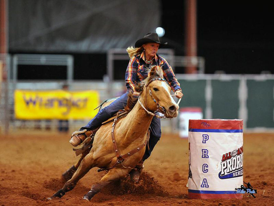 Barrel Racing Roots N' Boots Rodeo photo credit Miller Photos (PRCA)